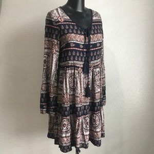 Earthbound Trading Co Peasant Navy Printed Dress